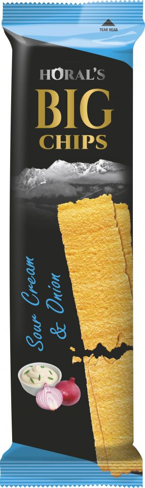 Horal´s Big Chips s příchutí Kysaná smetana a cibule 75g